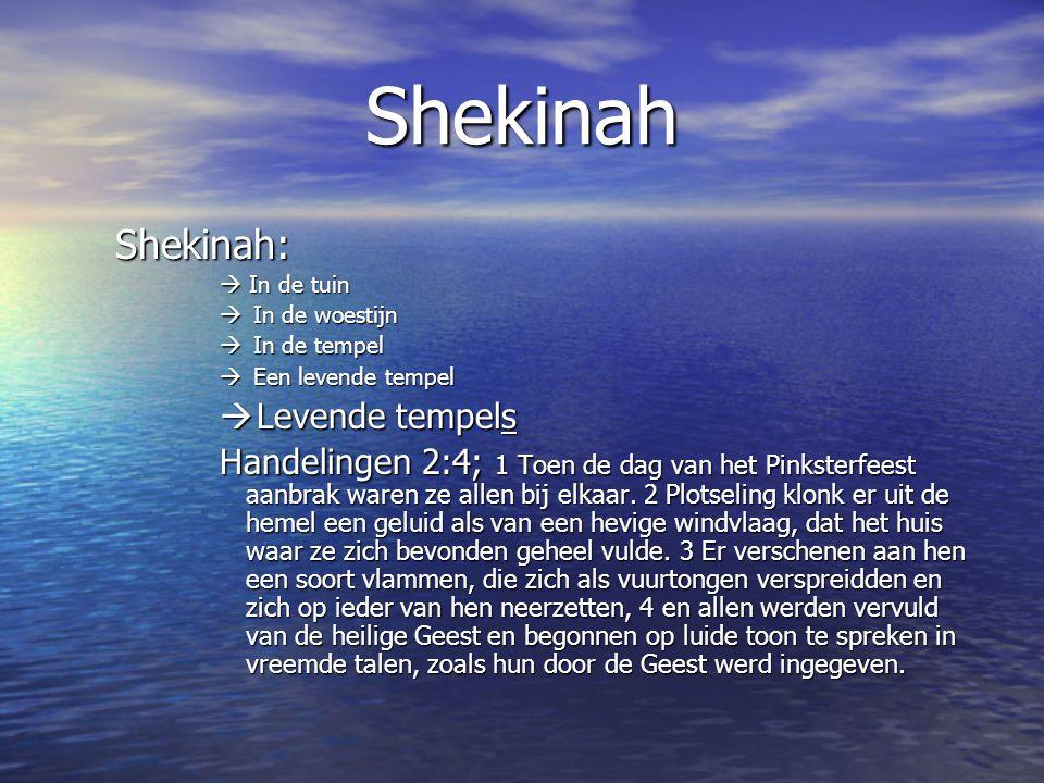 Shekinah Shekinah:  In de tuin  In de woestijn  In de tempel  Een levende tempel  Levende tempels Handelingen 2:4; 1 Toen de dag van het Pinksterfeest aanbrak waren ze allen bij elkaar.