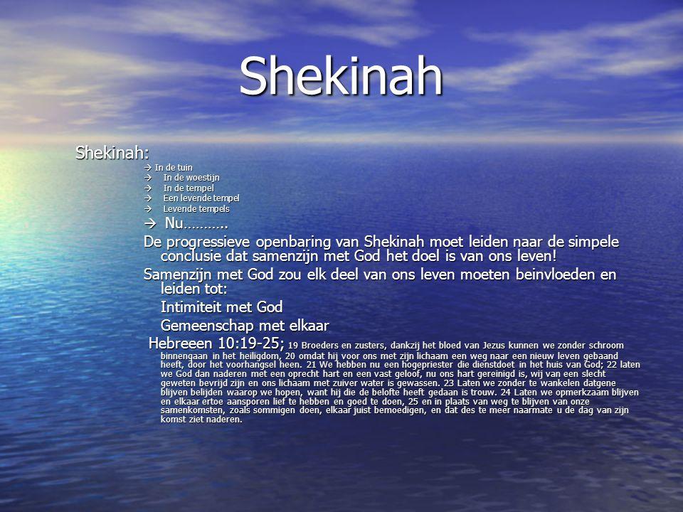 Shekinah Shekinah:  In de tuin  In de woestijn  In de tempel  Een levende tempel  Levende tempels  Nu……….. De progressieve openbaring van Shekin