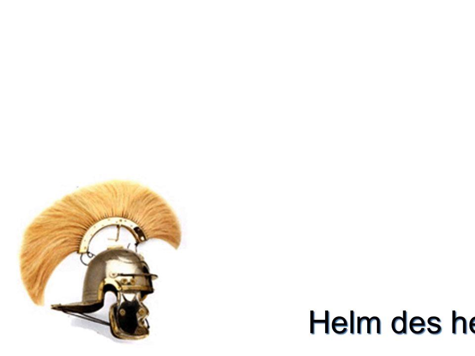 Helm  Helm –Bescherming van je hoofd –Toont je rang en waar je bent  Des heils (2 Cor.10:5) –Gedachten aan & kennis van God  Toepassing –de boze fluistert –vanuit Gods woord Wie ben ik & wat wil ik Wat is waarheid & goed –Krijgsgevangen maken –Weerstaan en hij zal vlieden