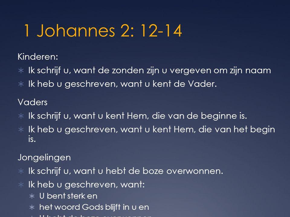 1 Johannes 2: 12-14 Kinderen:  Ik schrijf u, want de zonden zijn u vergeven om zijn naam  Ik heb u geschreven, want u kent de Vader. Vaders  Ik sch