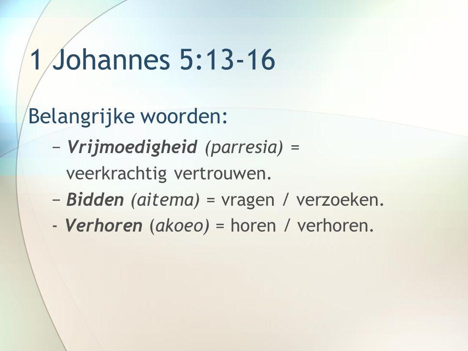 1 Johannes 5:13-16 Boodschap: Vrijmoedige voorbede volgens Gods wil wordt verhoord