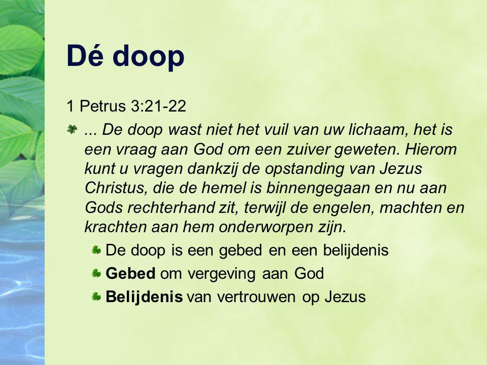Dé doop 1 Petrus 3:21-22...