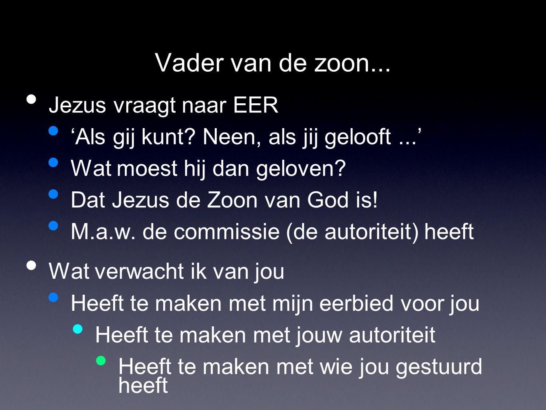 Vader van de zoon... Jezus vraagt naar EER 'Als gij kunt? Neen, als jij gelooft...' Wat moest hij dan geloven? Dat Jezus de Zoon van God is! M.a.w. de