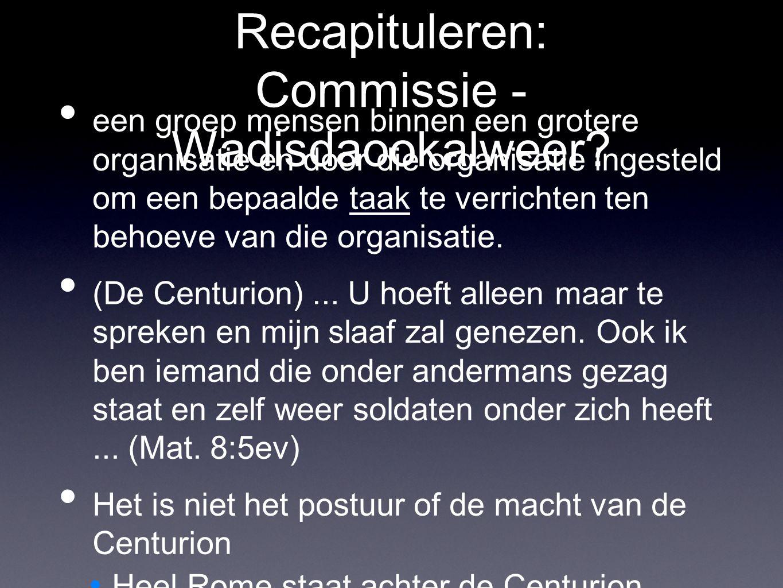 Recapituleren: Commissie - Wadisdaookalweer? een groep mensen binnen een grotere organisatie en door die organisatie ingesteld om een bepaalde taak te