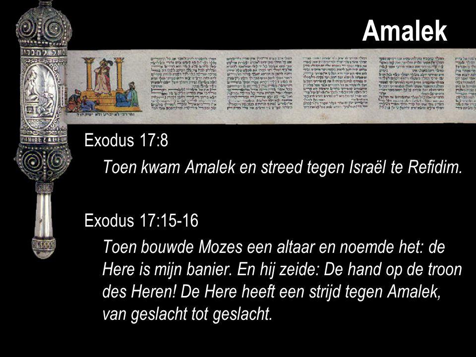 Amalek Exodus 17:8 Toen kwam Amalek en streed tegen Israël te Refidim. Exodus 17:15-16 Toen bouwde Mozes een altaar en noemde het: de Here is mijn ban