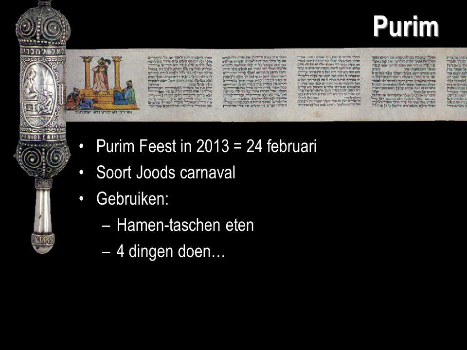 Purim Purim Feest in 2013 = 24 februari Soort Joods carnaval Gebruiken: –Hamen-taschen eten –4 dingen doen…