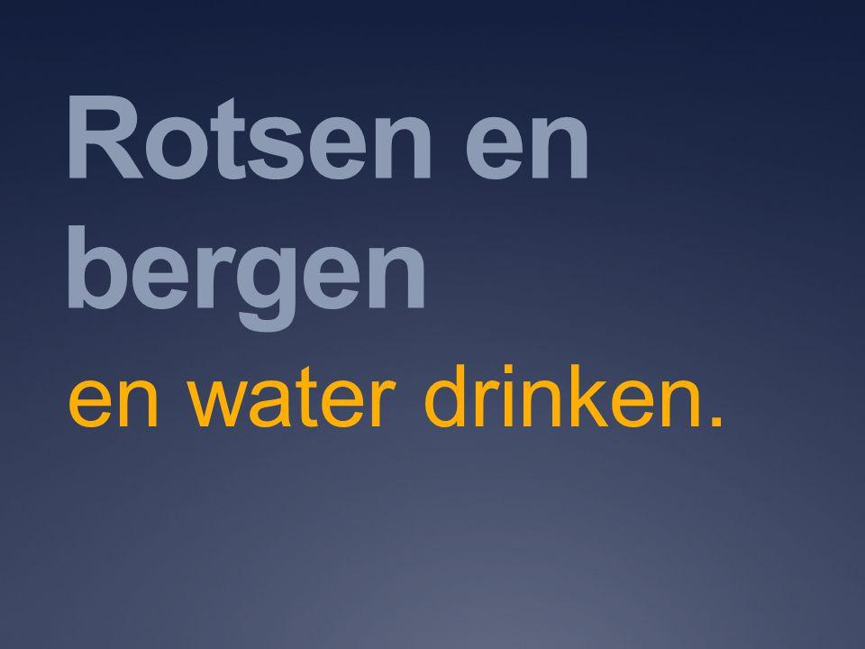 Rotsen en bergen en water drinken.