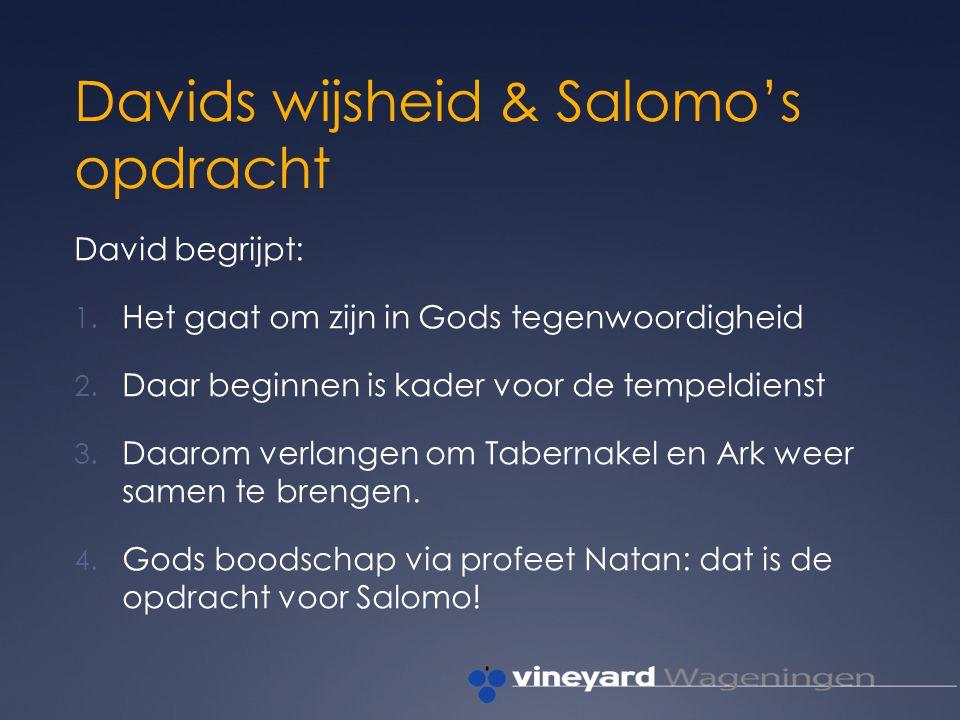 Davids wijsheid & Salomo's opdracht David begrijpt: 1.