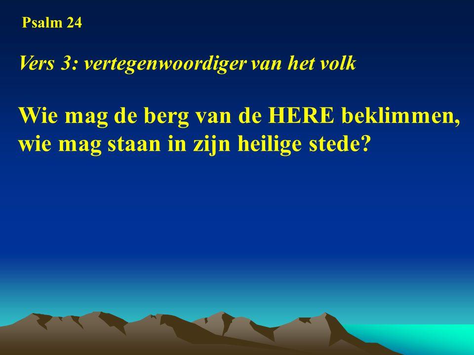 Psalm 24 Vers 3: vertegenwoordiger van het volk Wie mag de berg van de HERE beklimmen, wie mag staan in zijn heilige stede?
