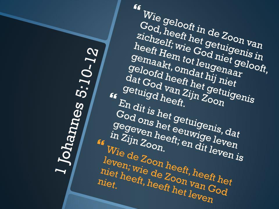 1 Johannes 5:10-12   Wie gelooft in de Zoon van God, heeft het getuigenis in zichzelf; wie God niet gelooft, heeft Hem tot leugenaar gemaakt, omdat hij niet geloofd heeft het getuigenis dat God van Zijn Zoon getuigd heeft.