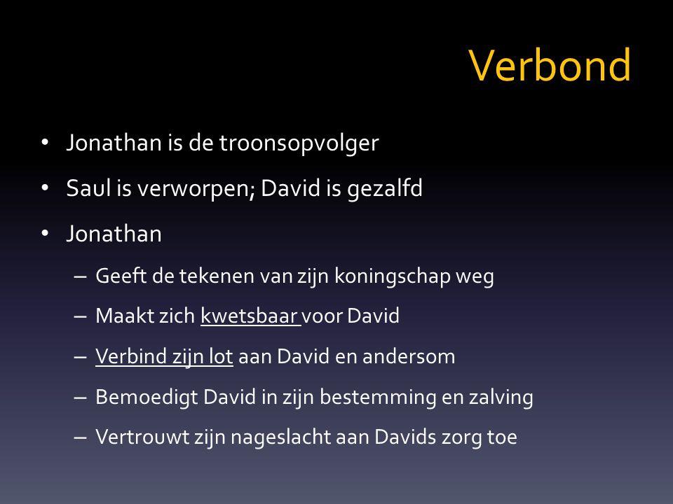 Verbond Jonathan is de troonsopvolger Saul is verworpen; David is gezalfd Jonathan – Geeft de tekenen van zijn koningschap weg – Maakt zich kwetsbaar