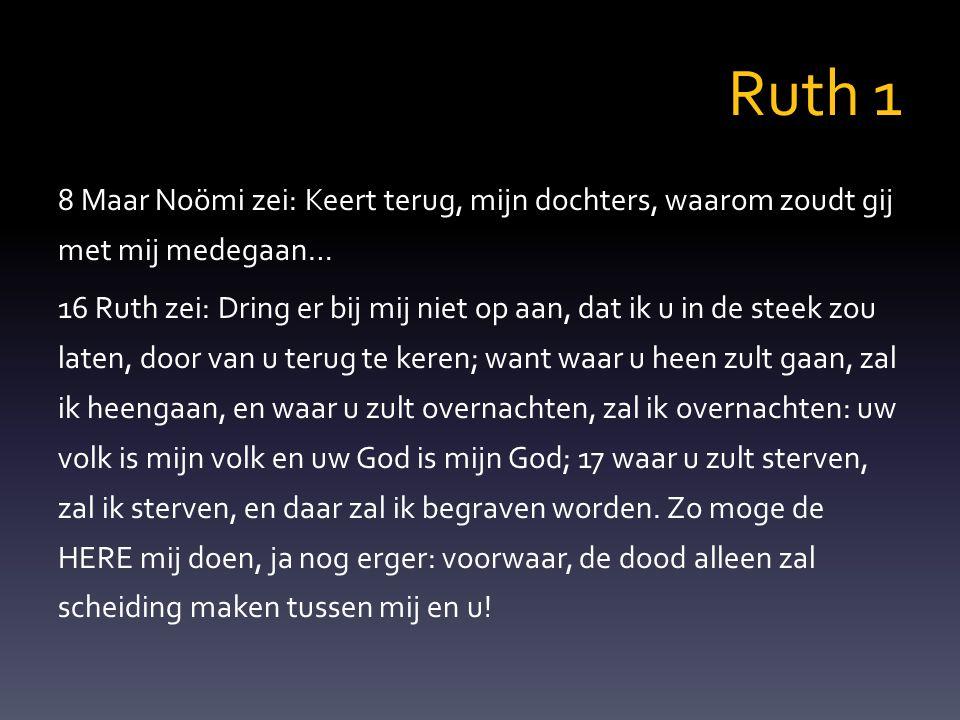 Ruth 1 8 Maar Noömi zei: Keert terug, mijn dochters, waarom zoudt gij met mij medegaan… 16 Ruth zei: Dring er bij mij niet op aan, dat ik u in de stee
