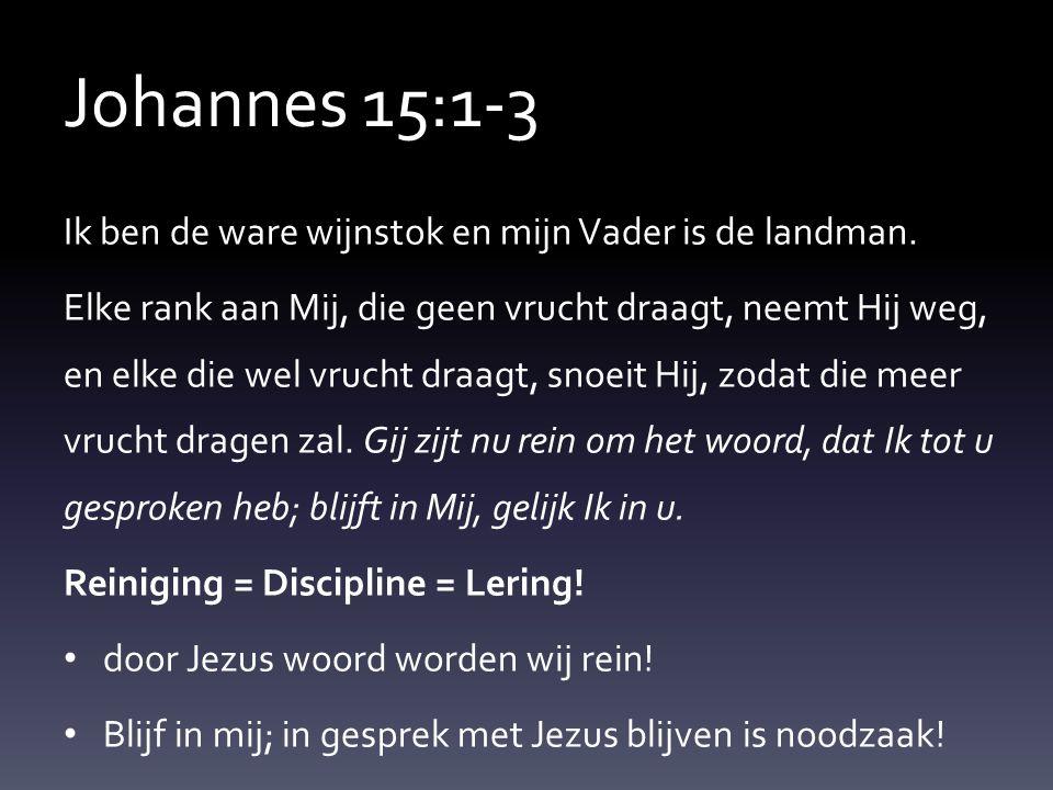 Johannes 15:1-3 Ik ben de ware wijnstok en mijn Vader is de landman. Elke rank aan Mij, die geen vrucht draagt, neemt Hij weg, en elke die wel vrucht