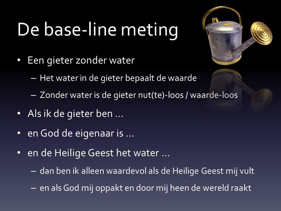 De base-line meting Een gieter zonder water – Het water in de gieter bepaalt de waarde – Zonder water is de gieter nut(te)-loos / waarde-loos Als ik d
