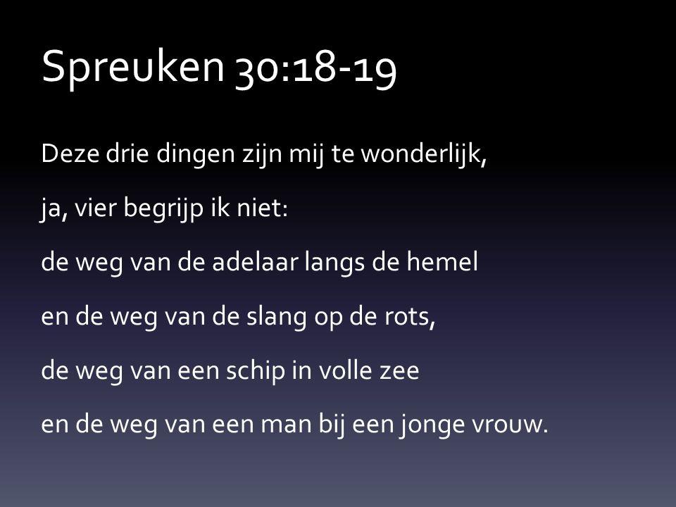 Spreuken 30:18-19 Deze drie dingen zijn mij te wonderlijk, ja, vier begrijp ik niet: de weg van de adelaar langs de hemel en de weg van de slang op de