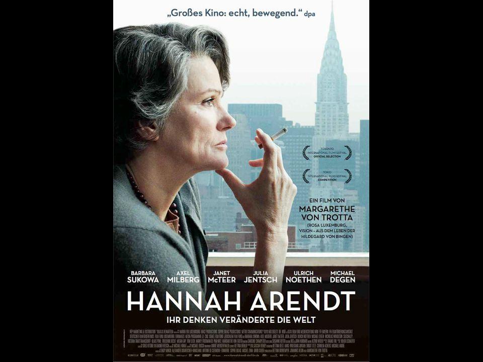 Hannah Arendt (the movie) Eichmann proces in Jeruzalem – En banaal mannetje – Zei dat ie nooit een Jood kwaad had gedaan – Geen verantwoording voor het geheel De banaliteit van het kwaad – Handelingen opbreken in weinig betekenende klusjes – Mensen helpen niet na te denken grotere gevolgen Oplossing (volgens Arendt): nadenken
