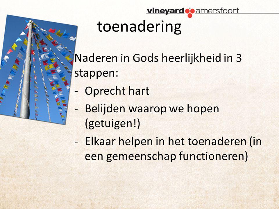 toenadering Naderen in Gods heerlijkheid in 3 stappen: -Oprecht hart -Belijden waarop we hopen (getuigen!) -Elkaar helpen in het toenaderen (in een gemeenschap functioneren)