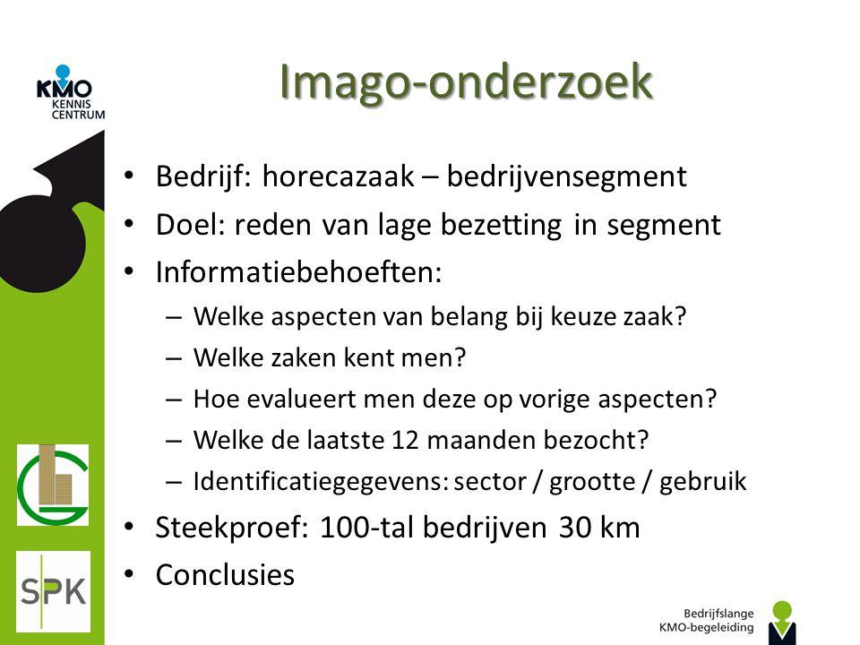 Imago-onderzoek Bedrijf: horecazaak – bedrijvensegment Doel: reden van lage bezetting in segment Informatiebehoeften: – Welke aspecten van belang bij
