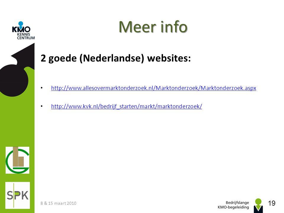 Meer info 2 goede (Nederlandse) websites: http://www.allesovermarktonderzoek.nl/Marktonderzoek/Marktonderzoek.aspx http://www.kvk.nl/bedrijf_starten/m