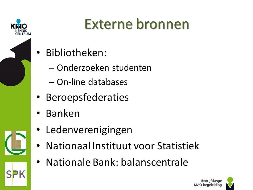Externe bronnen Bibliotheken: – Onderzoeken studenten – On-line databases Beroepsfederaties Banken Ledenverenigingen Nationaal Instituut voor Statisti