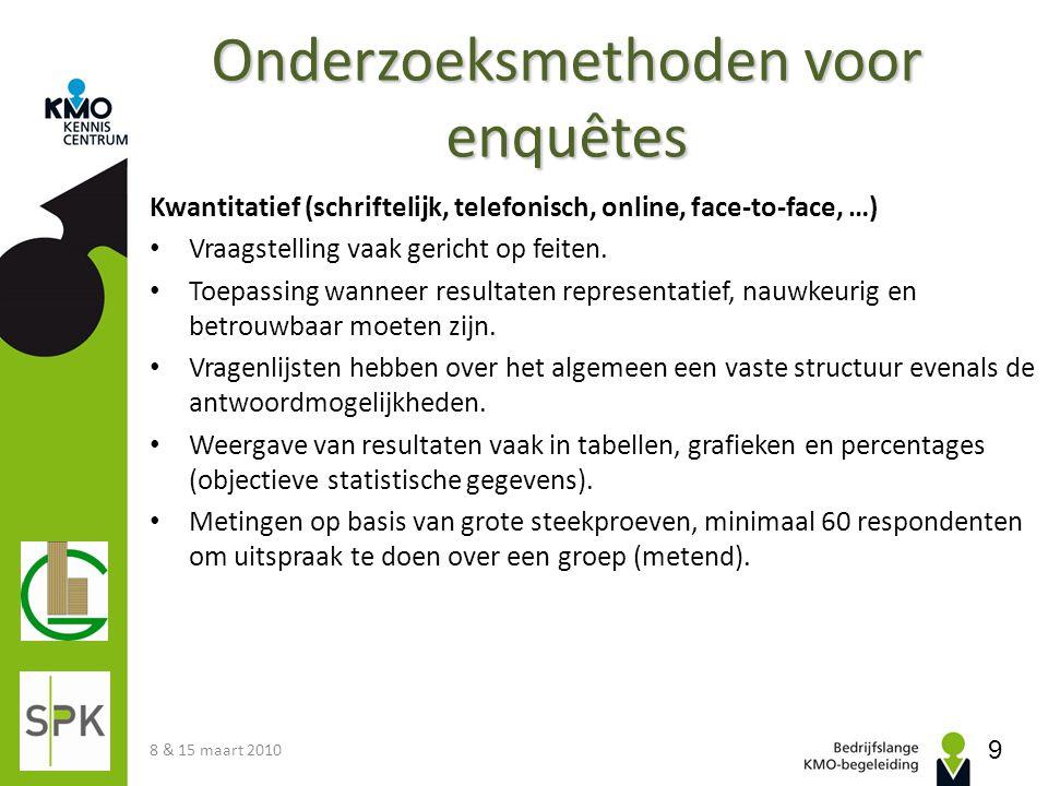 www.allesovermarktonderzoek.nl 8 & 15 maart 2010 20 Algemeen Basiskennis over marktonderzoek.