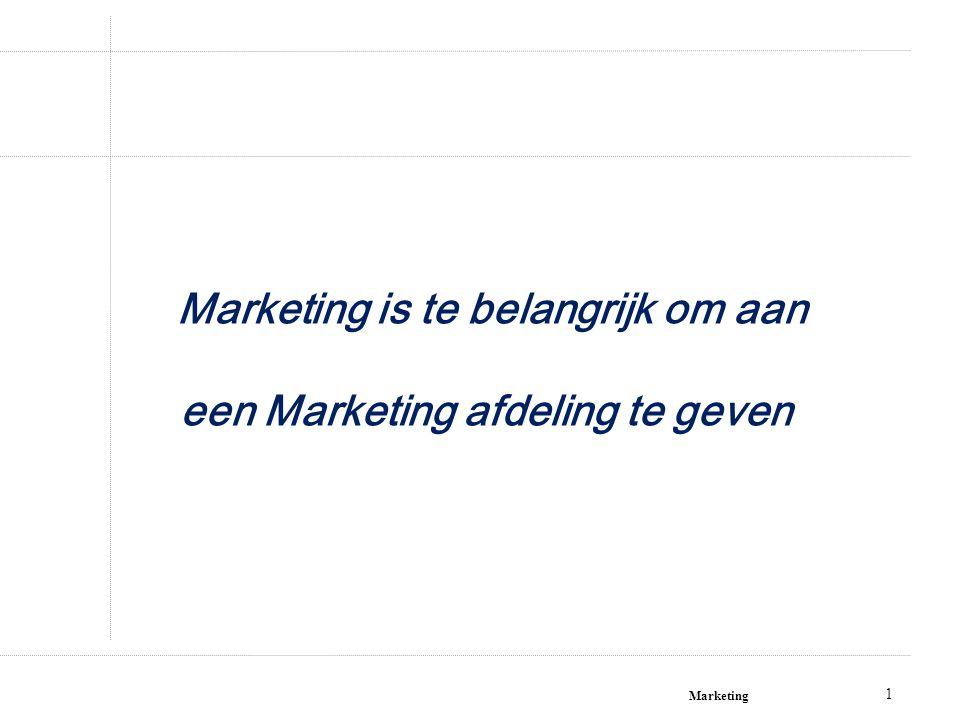 Marketing 1 Marketing is te belangrijk om aan een Marketing afdeling te geven!