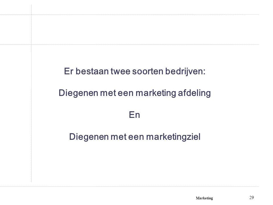 Marketing 29 Er bestaan twee soorten bedrijven: Diegenen met een marketing afdeling En Diegenen met een marketingziel