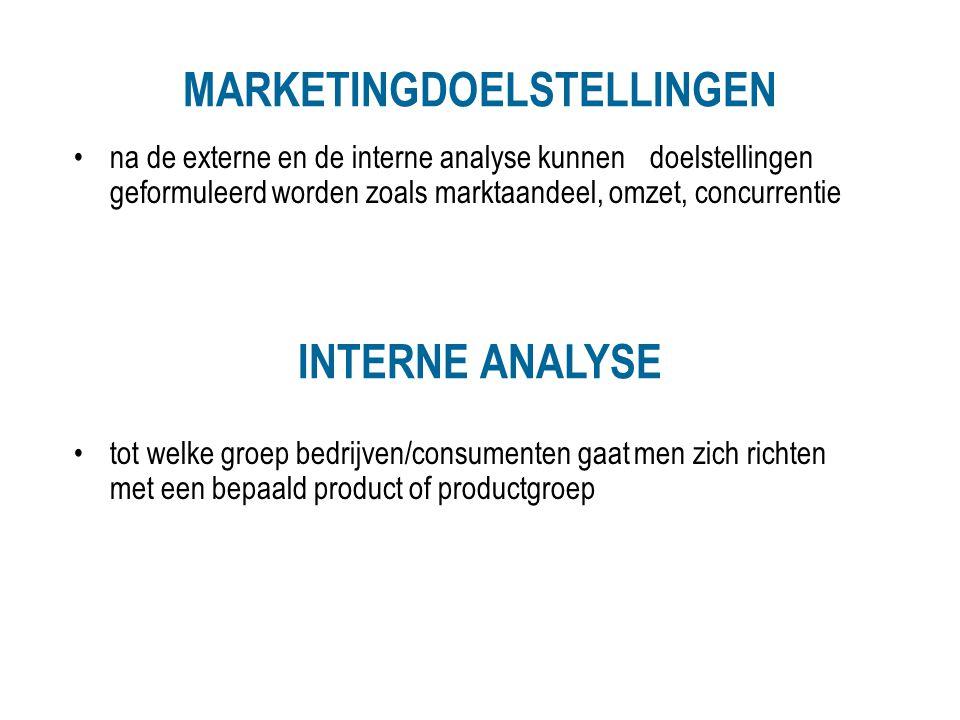 MARKETINGDOELSTELLINGEN na de externe en de interne analyse kunnen doelstellingen geformuleerd worden zoals marktaandeel, omzet, concurrentie INTERNE