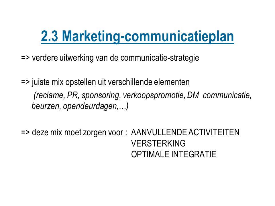 => verdere uitwerking van de communicatie-strategie => juiste mix opstellen uit verschillende elementen (reclame, PR, sponsoring, verkoopspromotie, DM