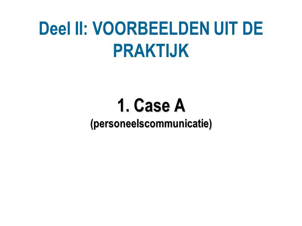 Deel II: VOORBEELDEN UIT DE PRAKTIJK 1. Case A (personeelscommunicatie)