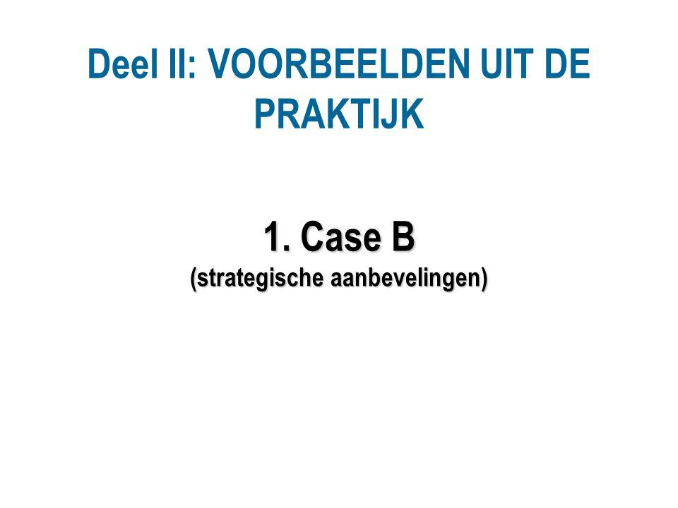 1. Case B (strategische aanbevelingen) Deel II: VOORBEELDEN UIT DE PRAKTIJK