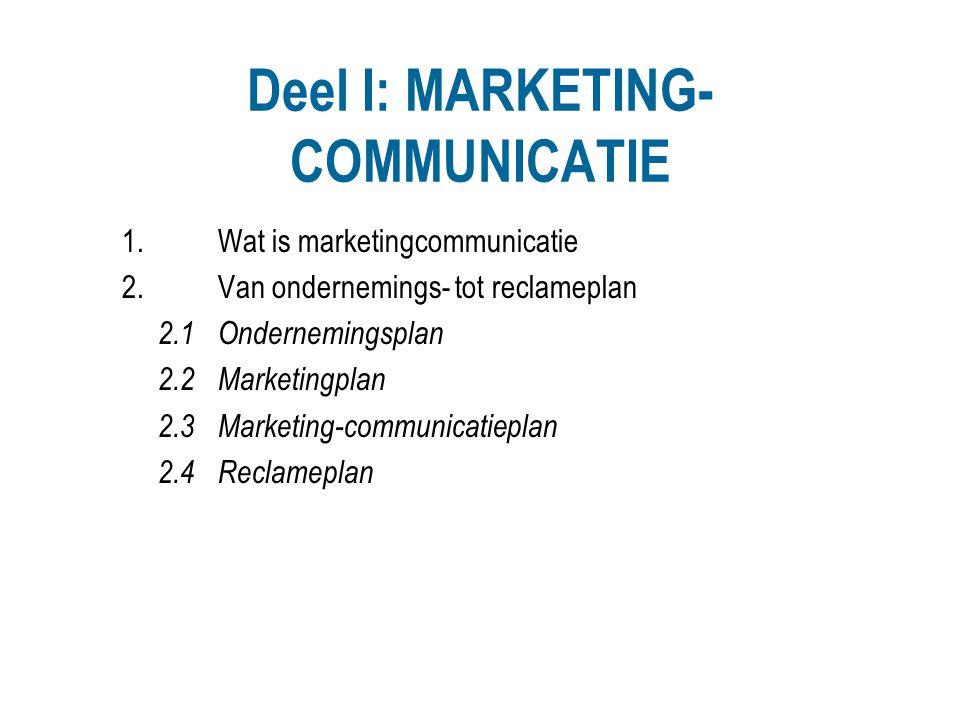 Deel I: MARKETING- COMMUNICATIE 1.Wat is marketingcommunicatie 2.Van ondernemings- tot reclameplan 2.1Ondernemingsplan 2.2Marketingplan 2.3Marketing-c