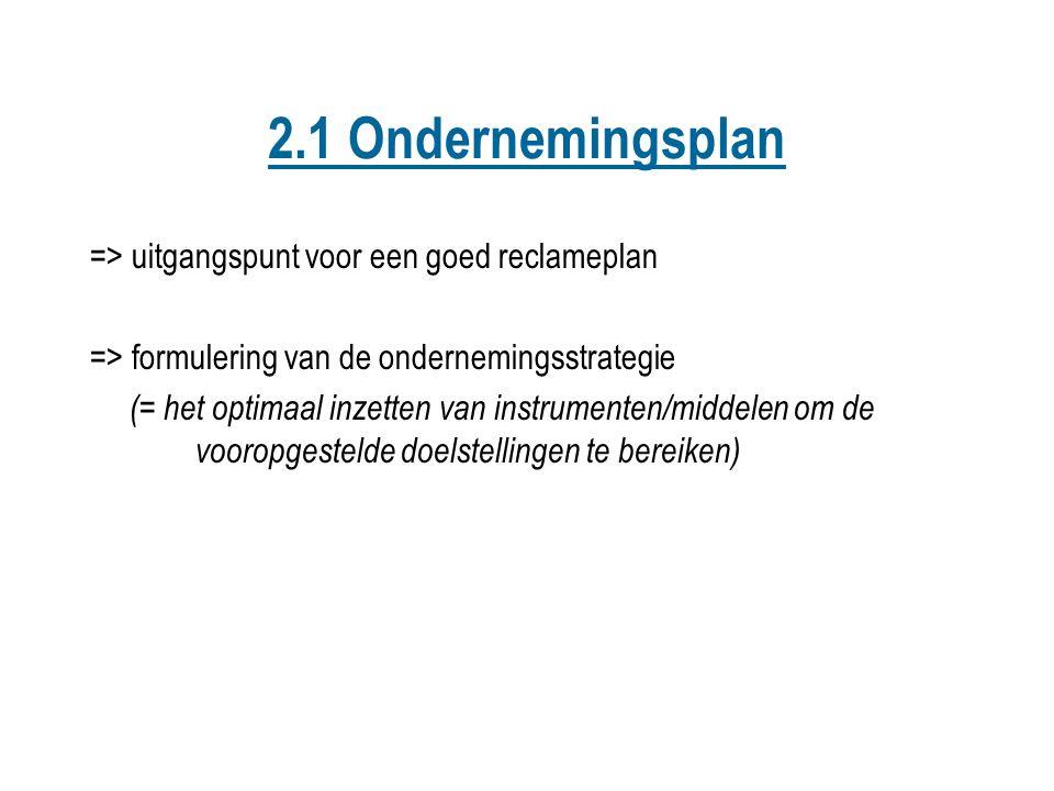 2.1 Ondernemingsplan => uitgangspunt voor een goed reclameplan => formulering van de ondernemingsstrategie (= het optimaal inzetten van instrumenten/m