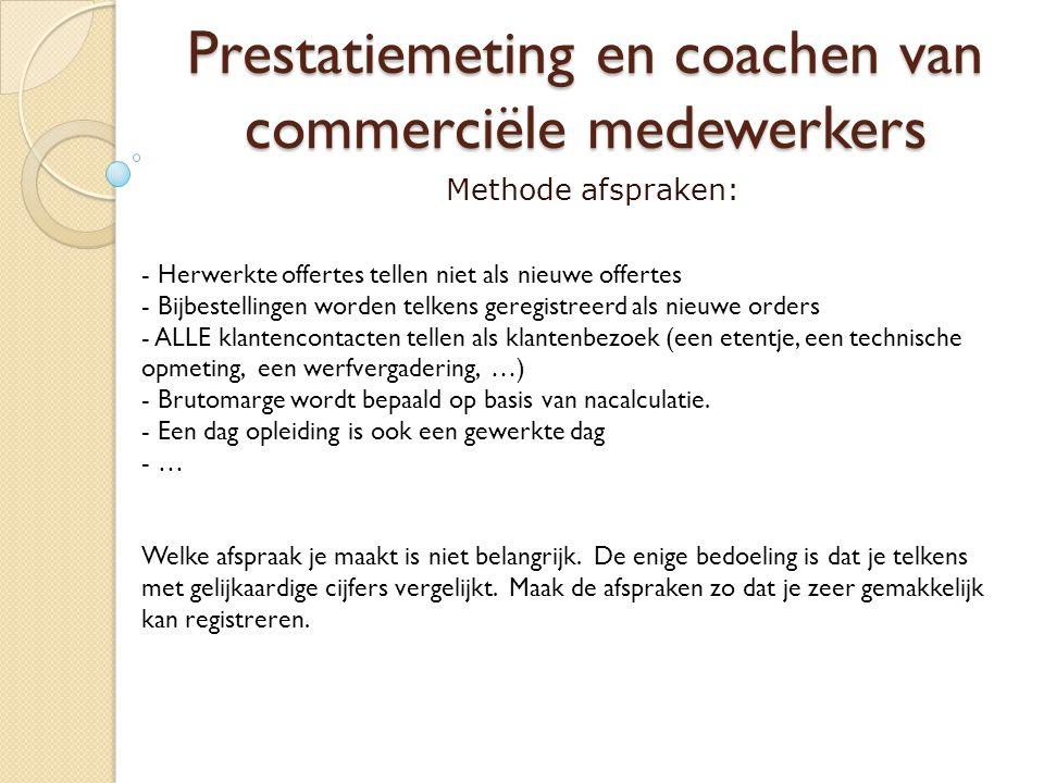 Prestatiemeting en coachen van commerciële medewerkers Methode afspraken: - Herwerkte offertes tellen niet als nieuwe offertes - Bijbestellingen worde