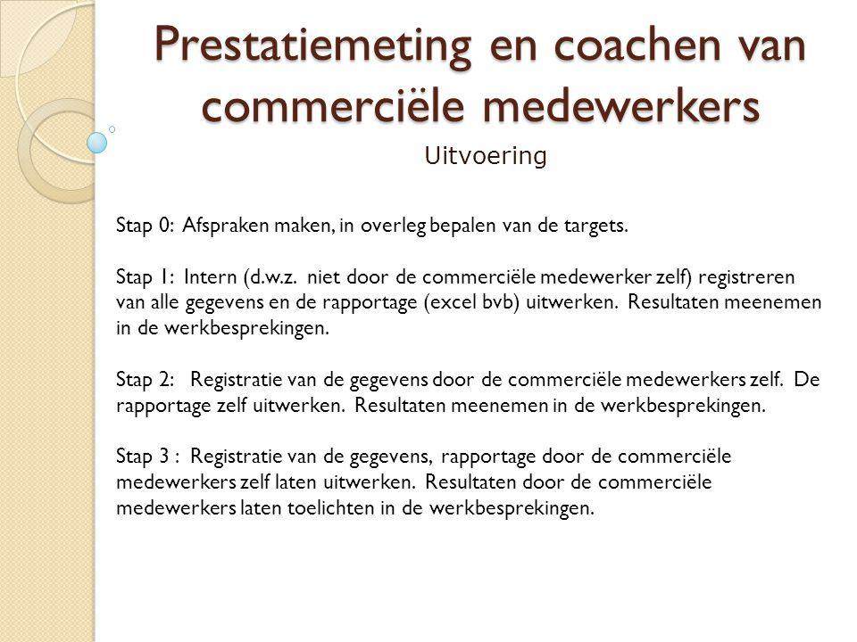 Prestatiemeting en coachen van commerciële medewerkers Uitvoering Stap 0: Afspraken maken, in overleg bepalen van de targets. Stap 1: Intern (d.w.z. n