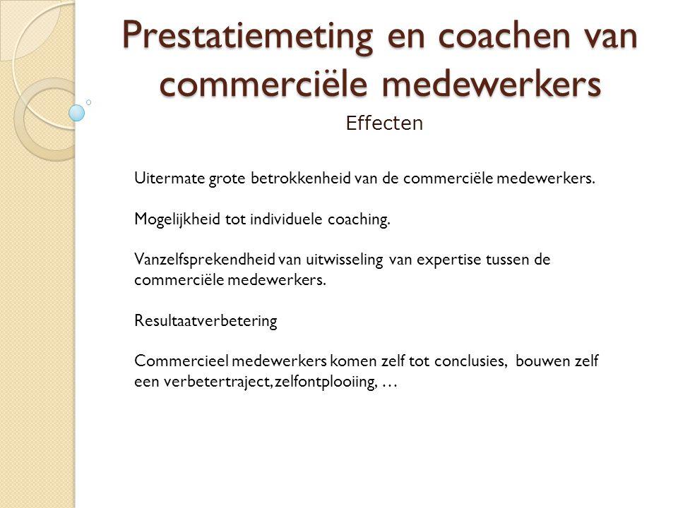 Prestatiemeting en coachen van commerciële medewerkers Effecten Uitermate grote betrokkenheid van de commerciële medewerkers. Mogelijkheid tot individ