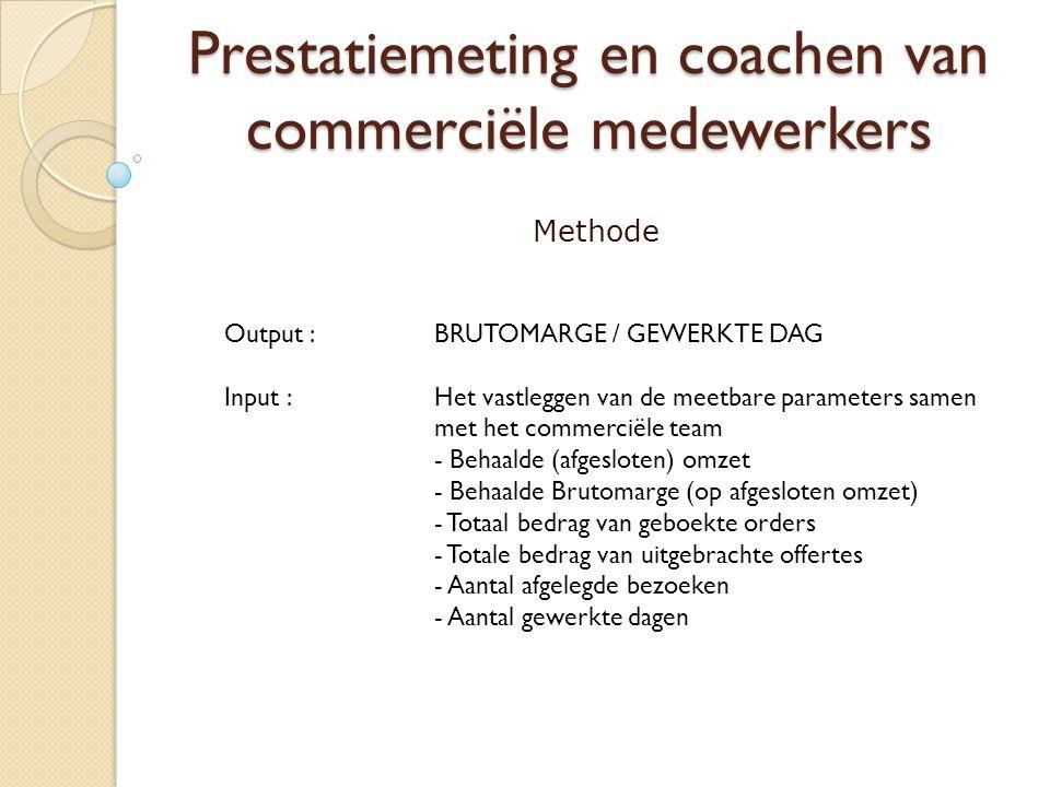 Prestatiemeting en coachen van commerciële medewerkers Methode Output : BRUTOMARGE / GEWERKTE DAG Input : Het vastleggen van de meetbare parameters samen met het commerciële team - Behaalde (afgesloten) omzet - Behaalde Brutomarge (op afgesloten omzet) - Totaal bedrag van geboekte orders - Totale bedrag van uitgebrachte offertes - Aantal afgelegde bezoeken - Aantal gewerkte dagen