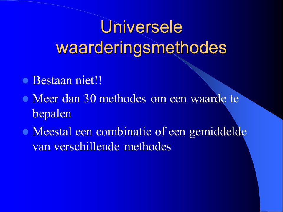 Universele waarderingsmethodes Bestaan niet!.