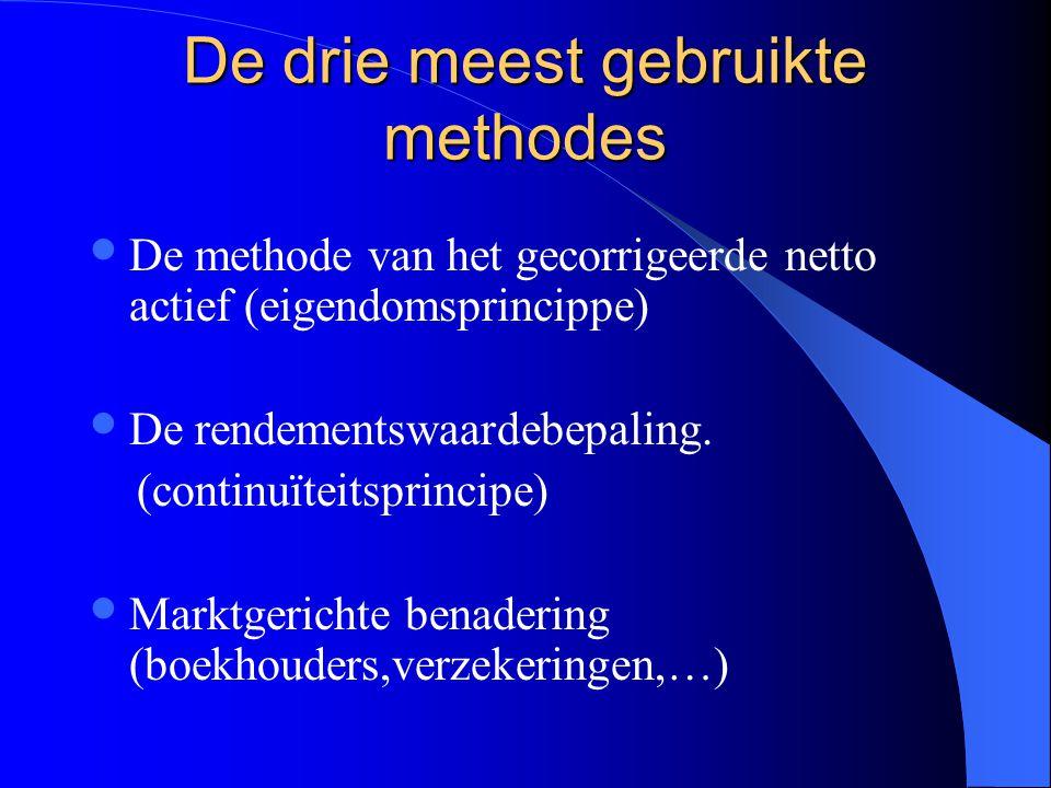 De drie meest gebruikte methodes De methode van het gecorrigeerde netto actief (eigendomsprincippe) De rendementswaardebepaling.