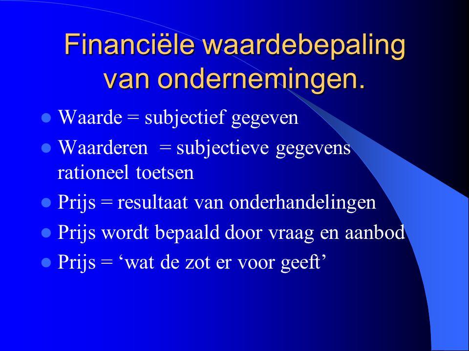 Financiële waardebepaling van ondernemingen.