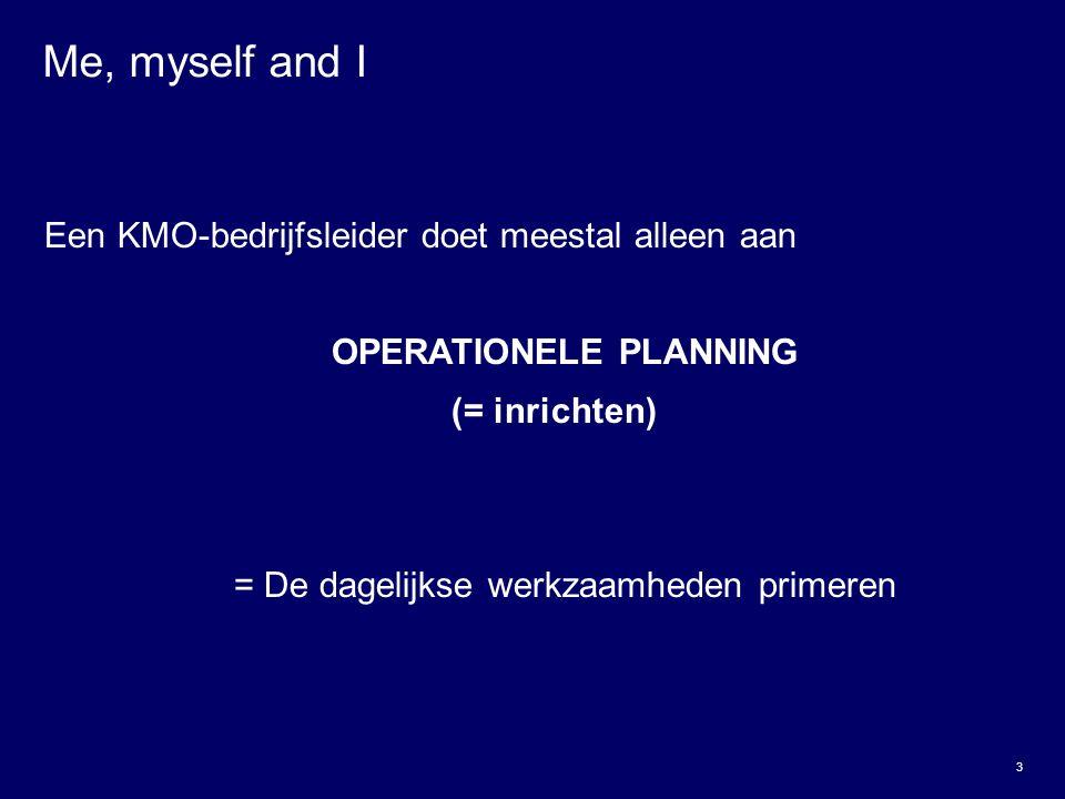 3 Me, myself and I Een KMO-bedrijfsleider doet meestal alleen aan OPERATIONELE PLANNING (= inrichten) = De dagelijkse werkzaamheden primeren