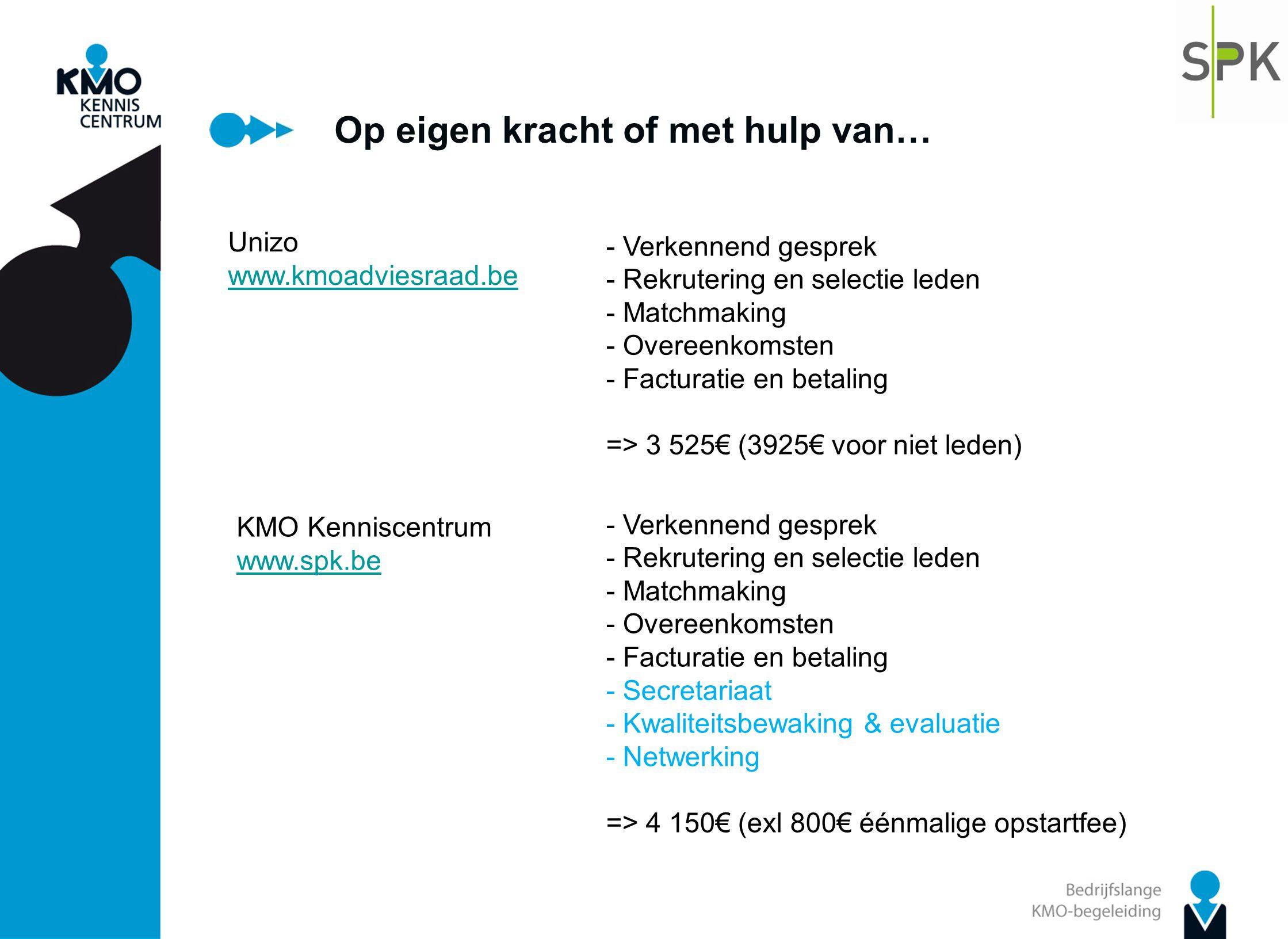 Op eigen kracht of met hulp van… Unizo www.kmoadviesraad.be - Verkennend gesprek - Rekrutering en selectie leden - Matchmaking - Overeenkomsten - Fact