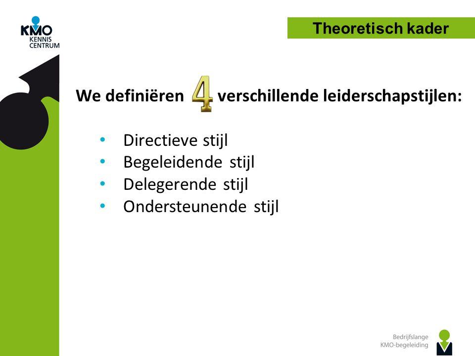 We definiëren verschillende leiderschapstijlen: Directieve stijl Begeleidende stijl Delegerende stijl Ondersteunende stijl
