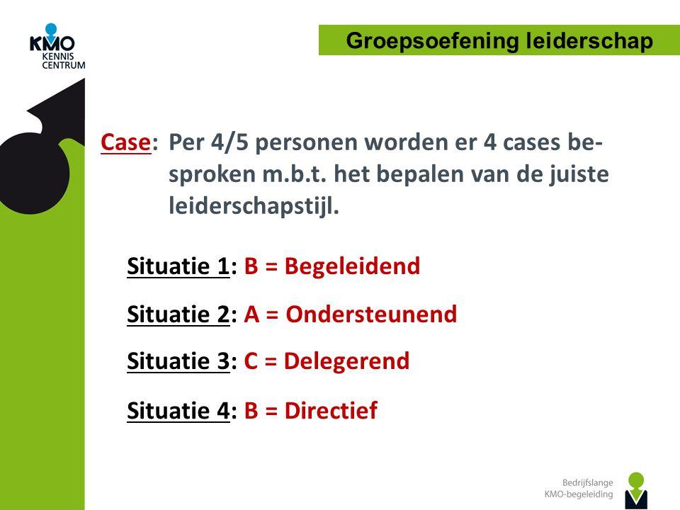 Case: Per 4/5 personen worden er 4 cases be- sproken m.b.t. het bepalen van de juiste leiderschapstijl. Groepsoefening leiderschap Situatie 1: B = Beg