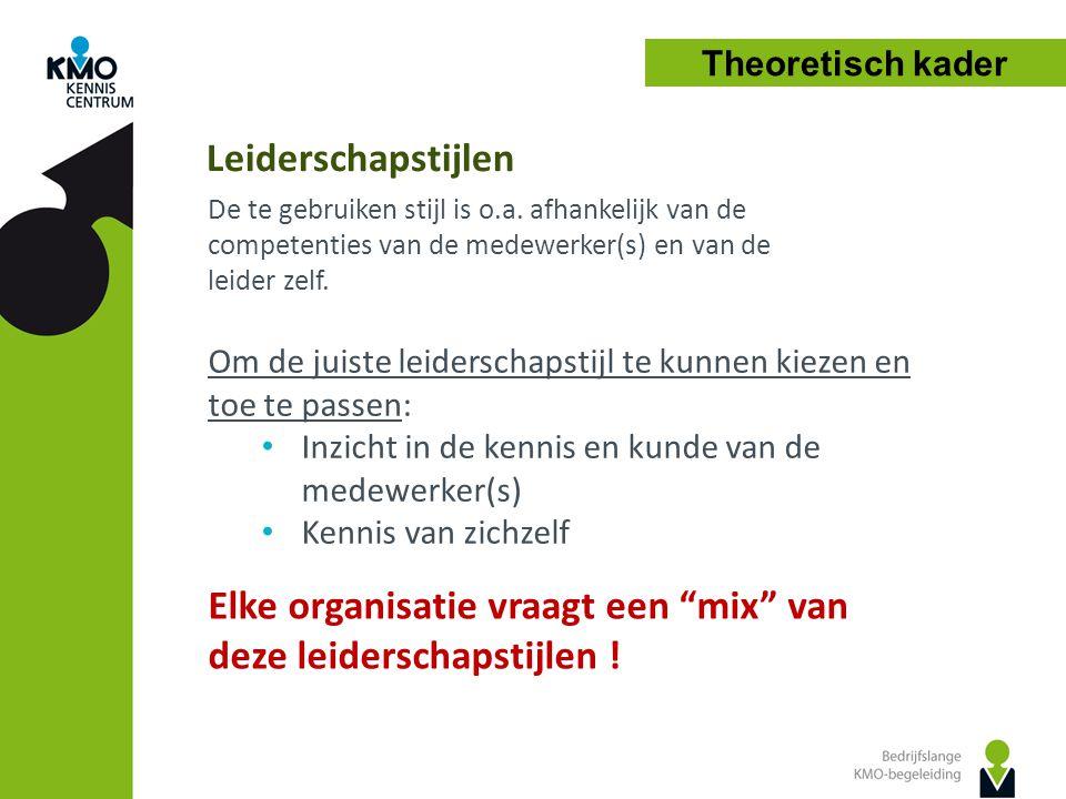 Leiderschapstijlen De te gebruiken stijl is o.a. afhankelijk van de competenties van de medewerker(s) en van de leider zelf. Om de juiste leiderschaps