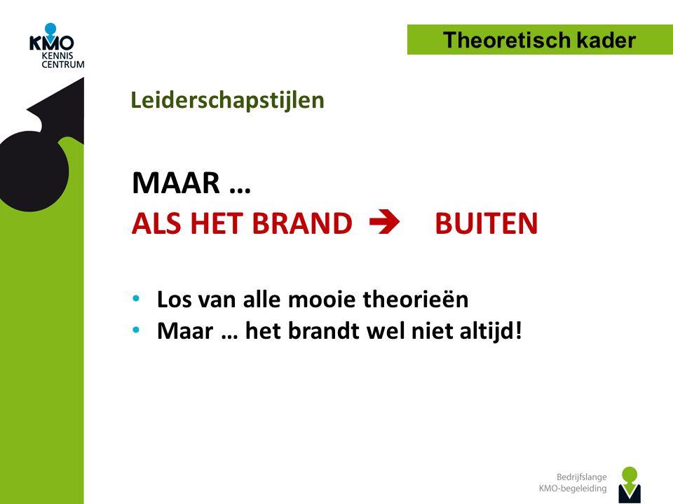 Leiderschapstijlen Theoretisch kader MAAR … ALS HET BRAND  BUITEN Los van alle mooie theorieën Maar … het brandt wel niet altijd!