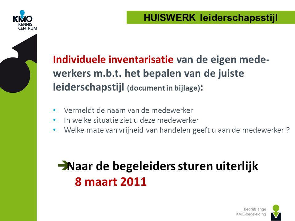 Individuele inventarisatie van de eigen mede- werkers m.b.t.