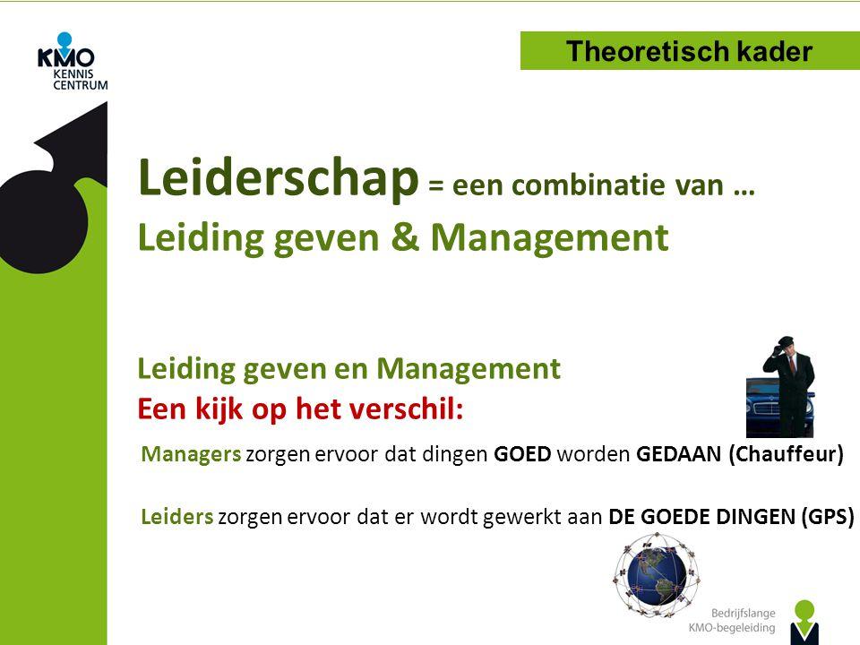 Leiderschap = een combinatie van … Leiding geven & Management Leiding geven en Management Een kijk op het verschil: Theoretisch kader Managers zorgen ervoor dat dingen GOED worden GEDAAN (Chauffeur) Leiders zorgen ervoor dat er wordt gewerkt aan DE GOEDE DINGEN (GPS)