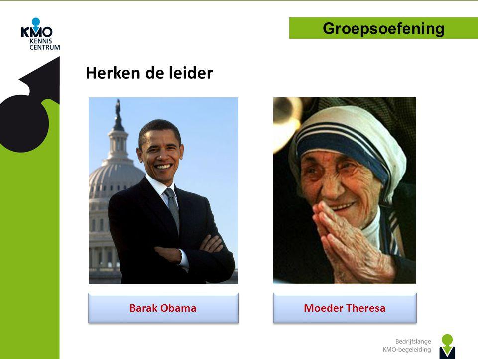 Herken de leider Groepsoefening Barak Obama Moeder Theresa