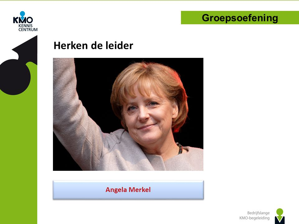 Herken de leider Groepsoefening Angela Merkel